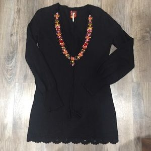 Free People Black Embroidered Sweater Dress Sz S
